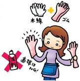 木綿の手袋・ゴム手袋で保護