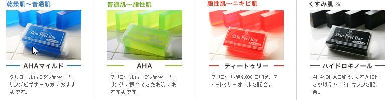 ピーリング石鹸の種類