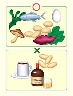 刺激物を控え、魚・大豆・野菜・キノコが望ましい食事