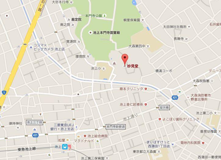 妙見堂への地図