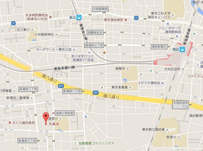 大楽寺への地図